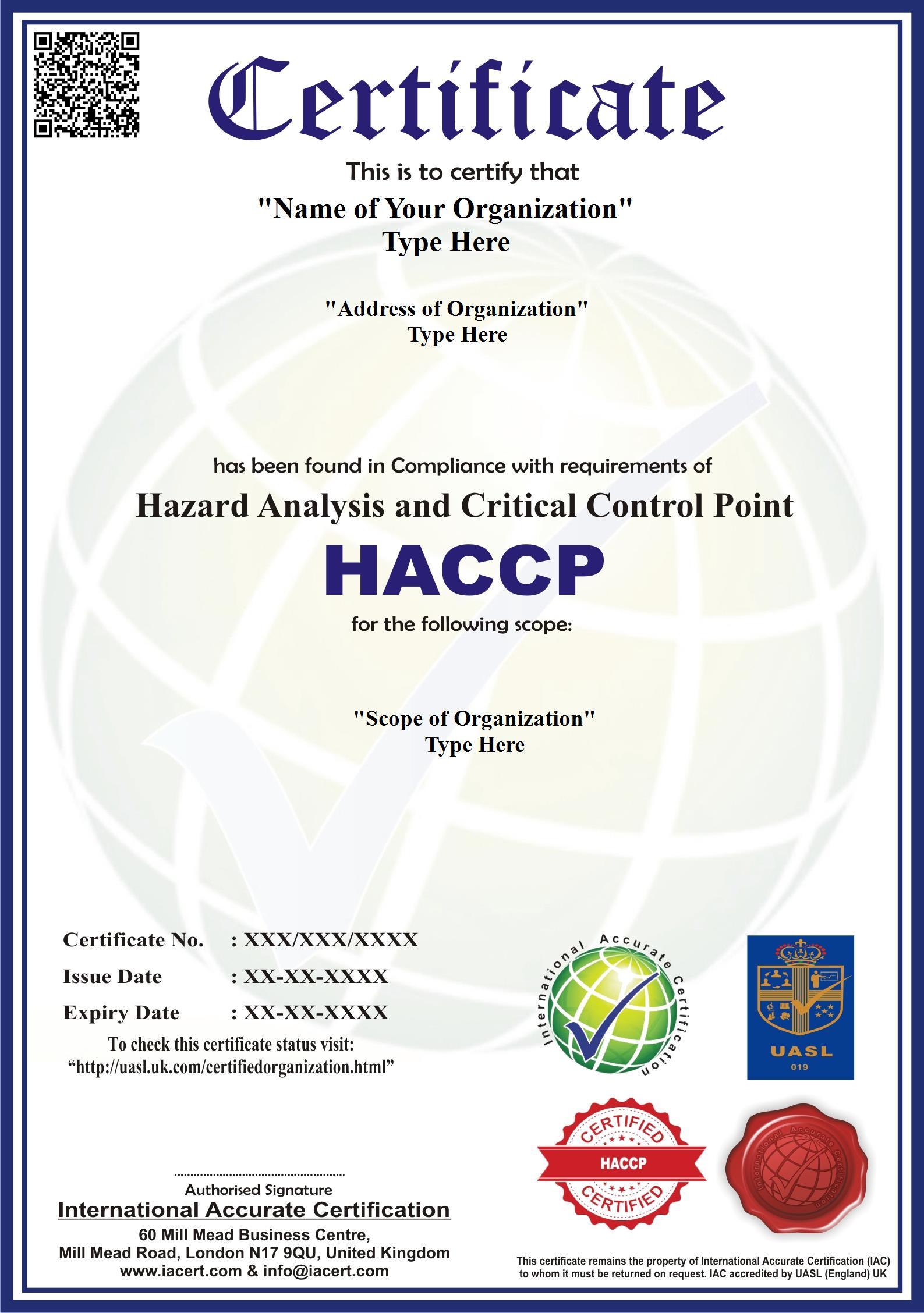 HACCP, HACCP Certification - IA Certification