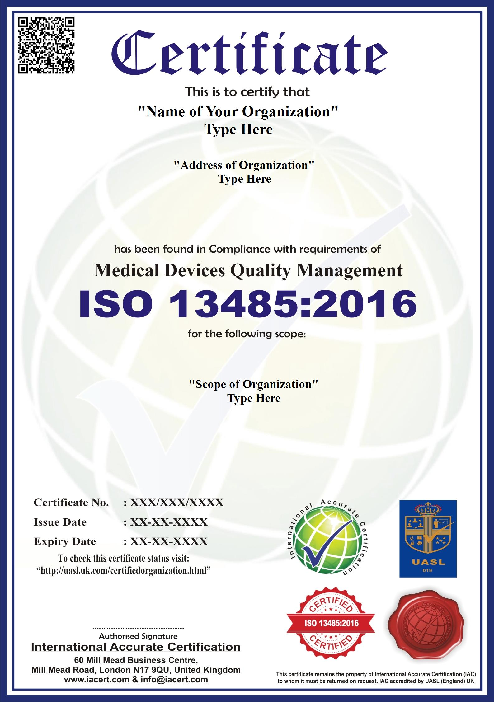 Iso 13485 2016 Iso 13485 Certification Ia Cert