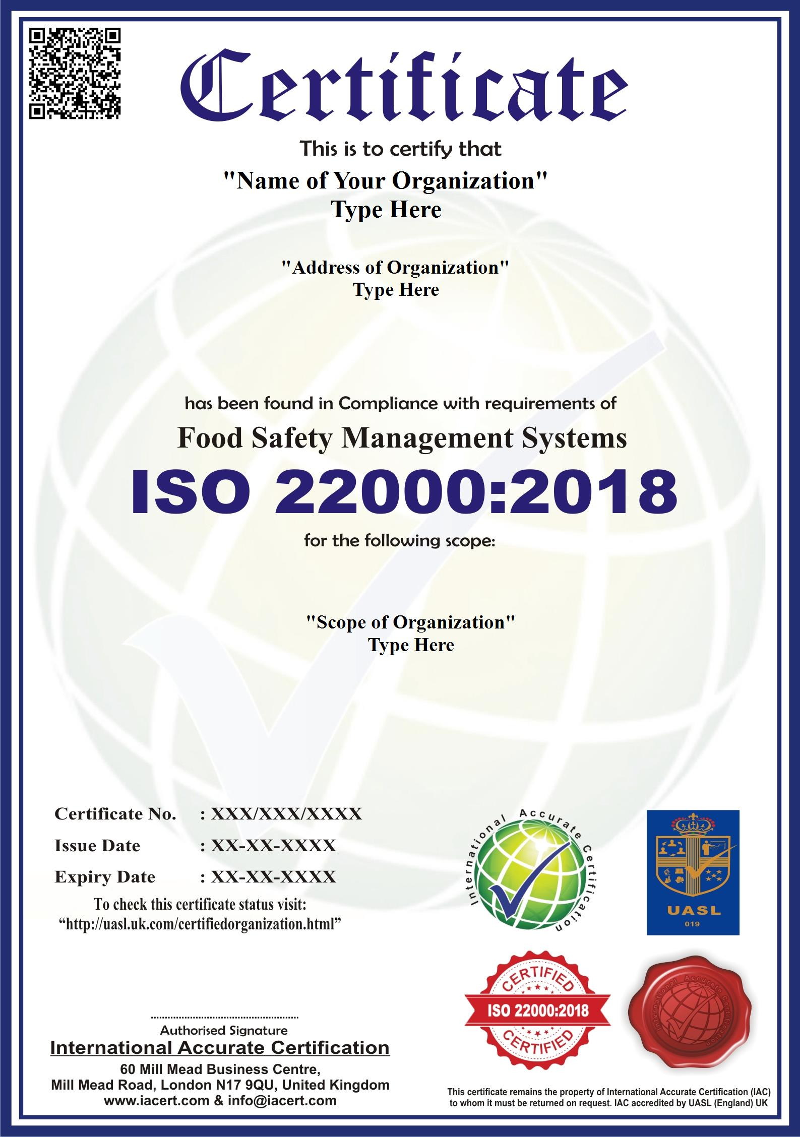 Iso 220002005 iso 22000 certification iacert through this certification they are able to evaluate and access the consumer requirements with a focus on the food safety management system and this is xflitez Images