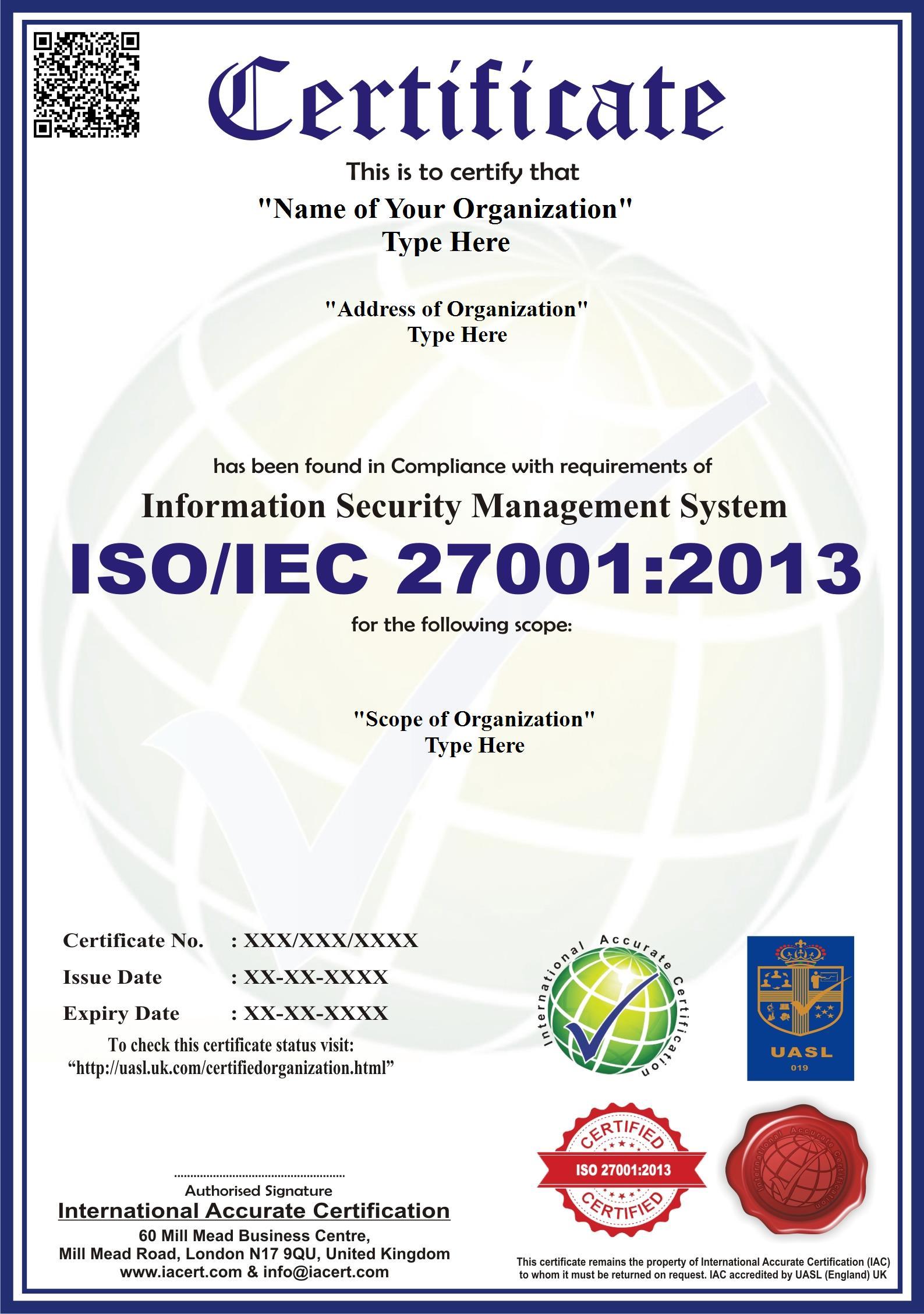 iso 27001 2013 iso 27001 certification iacert